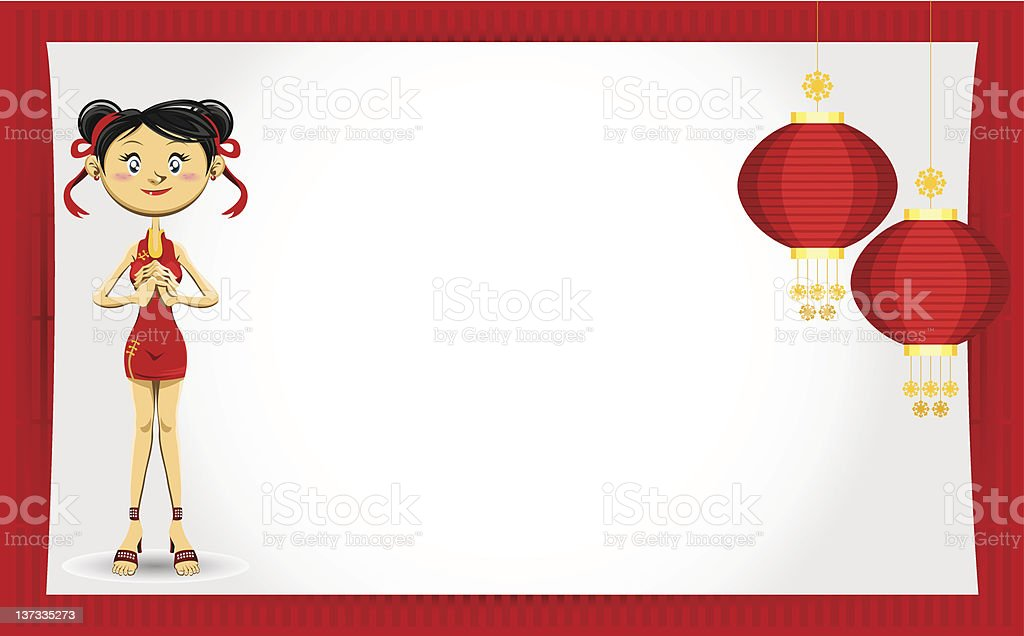 Chinese Girl New Year Greeting Card royalty-free stock vector art