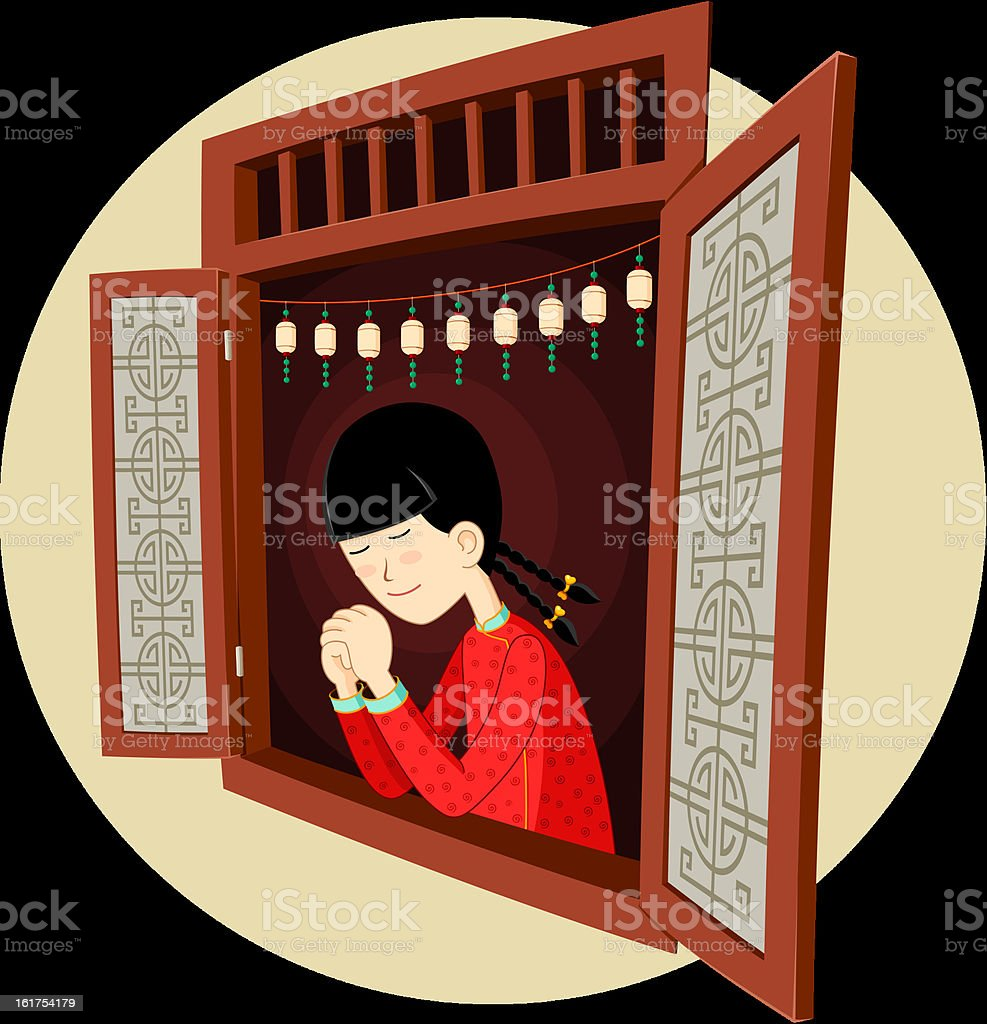 chinese girl praying in the window vector art illustration