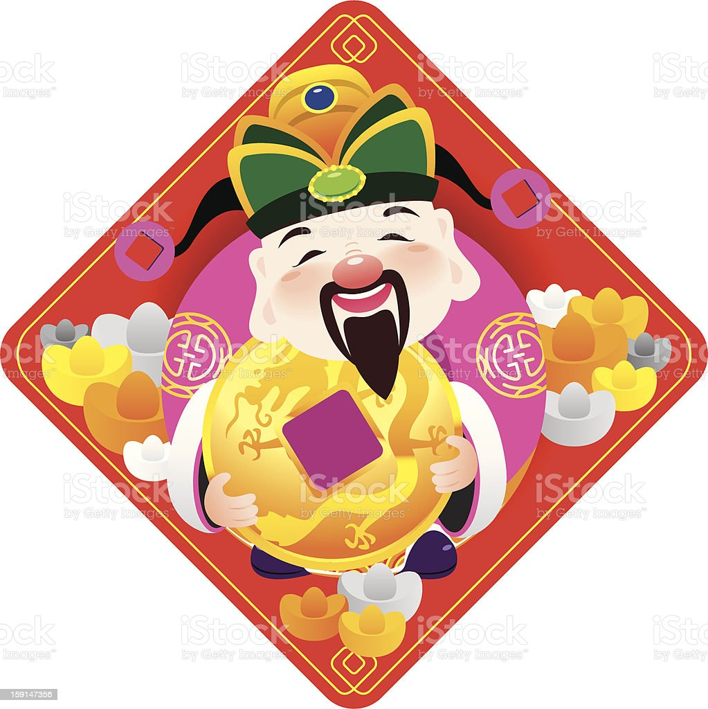 Chinese god of prosperity holds the golden coins royalty-free stock vector art