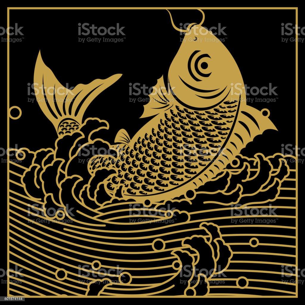 Chinese golden carp art vector art illustration