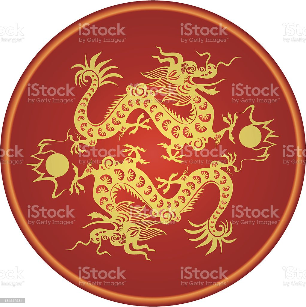 Chinese Golden Dragon. royalty-free stock vector art