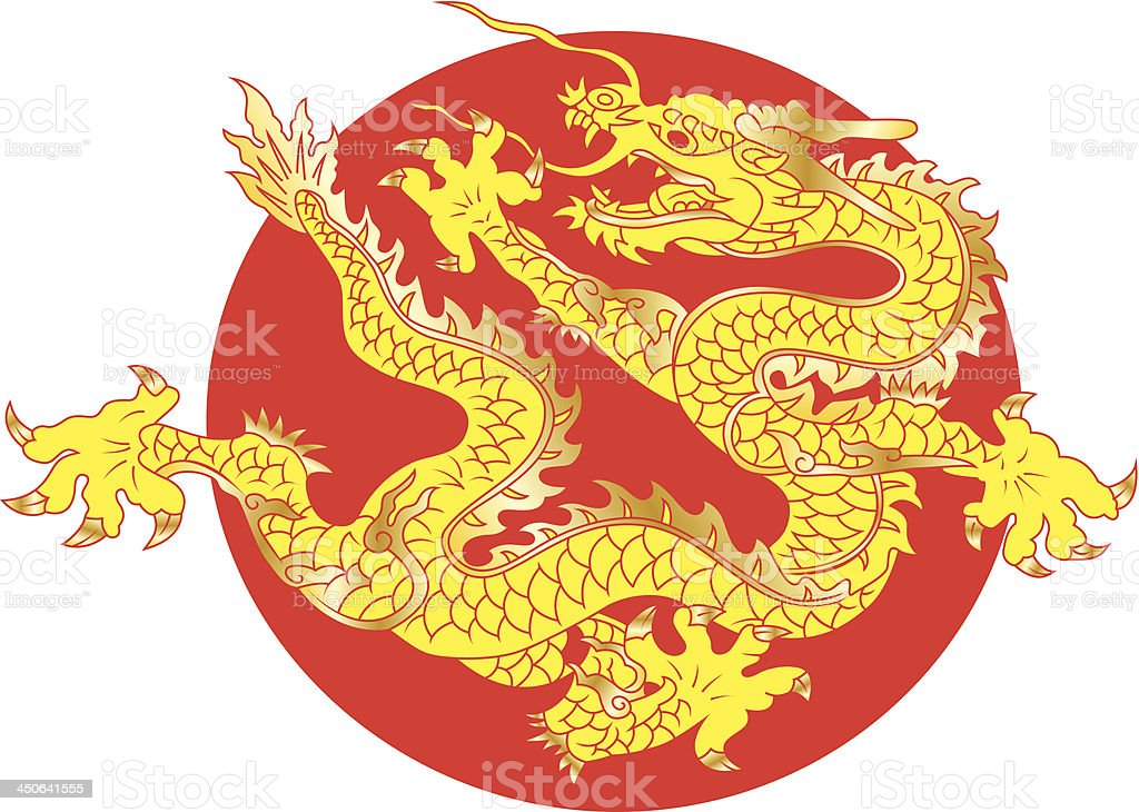 Chinese Golden Dragon vector art illustration