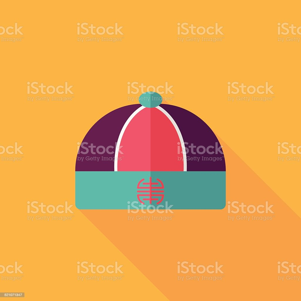 Chinese hat flat icon with long shadow,eps10 vector art illustration
