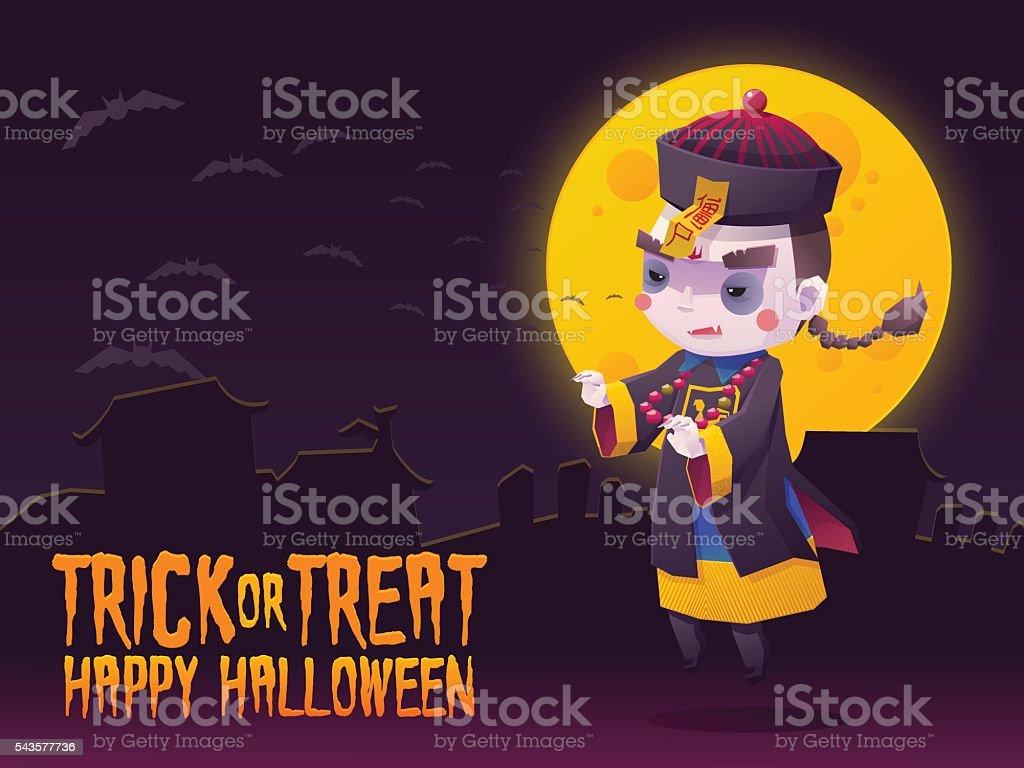 Chinese Hopping Vampire Ghost for Halloween Card vector art illustration