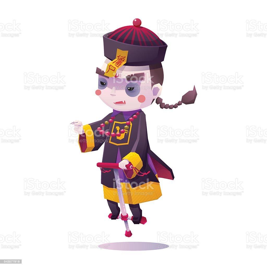 Chinese Hopping Vampire Ghost for Halloween vector art illustration