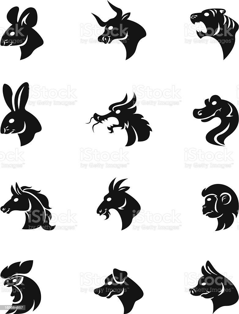 chinese horoscope signs vector art illustration