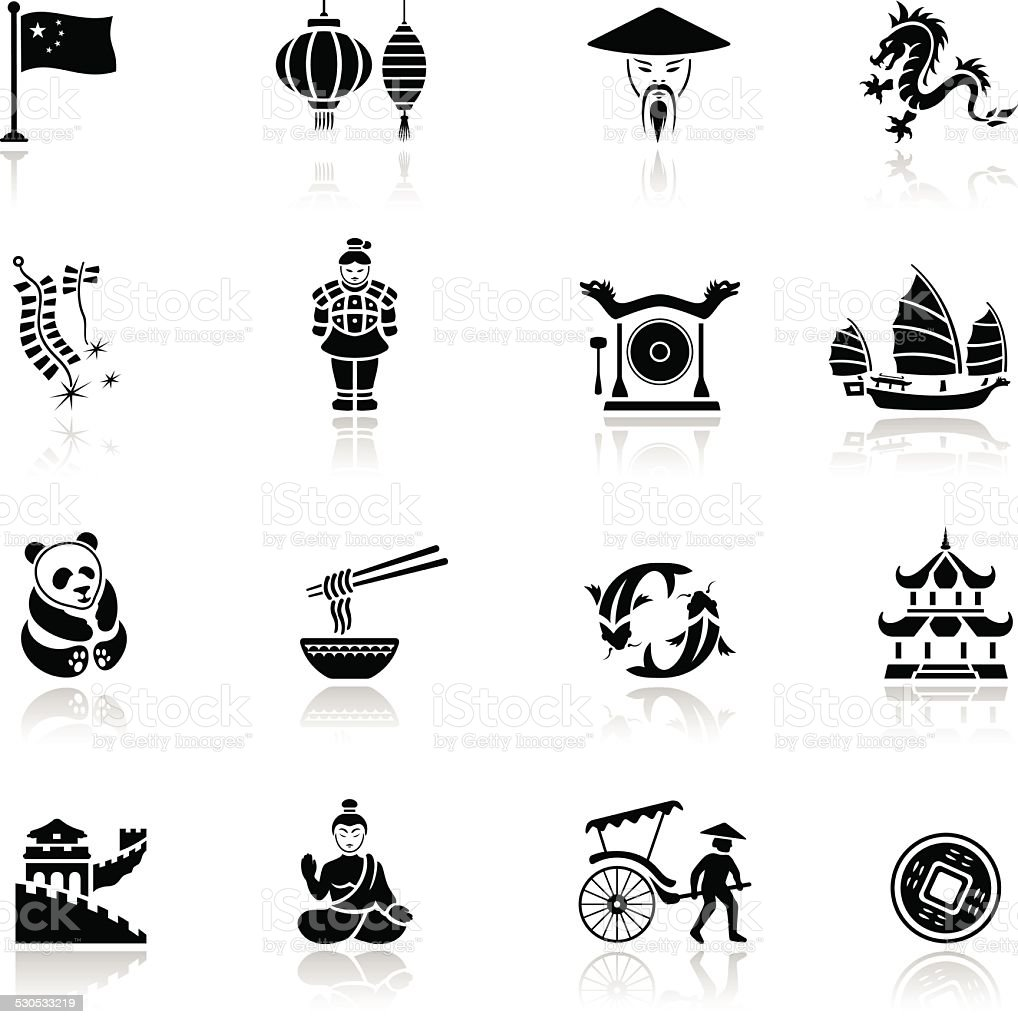 Chinese Icon Set vector art illustration