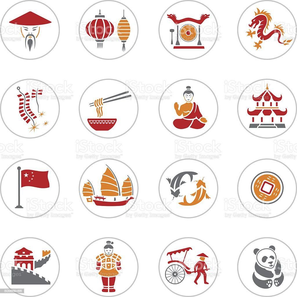 Chinese Icons vector art illustration
