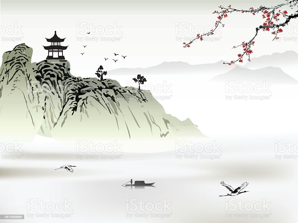 Chinese landscape painting vector art illustration