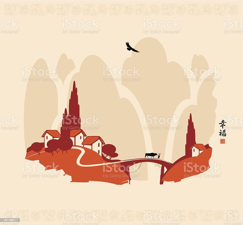 Chinese landscape vector art illustration