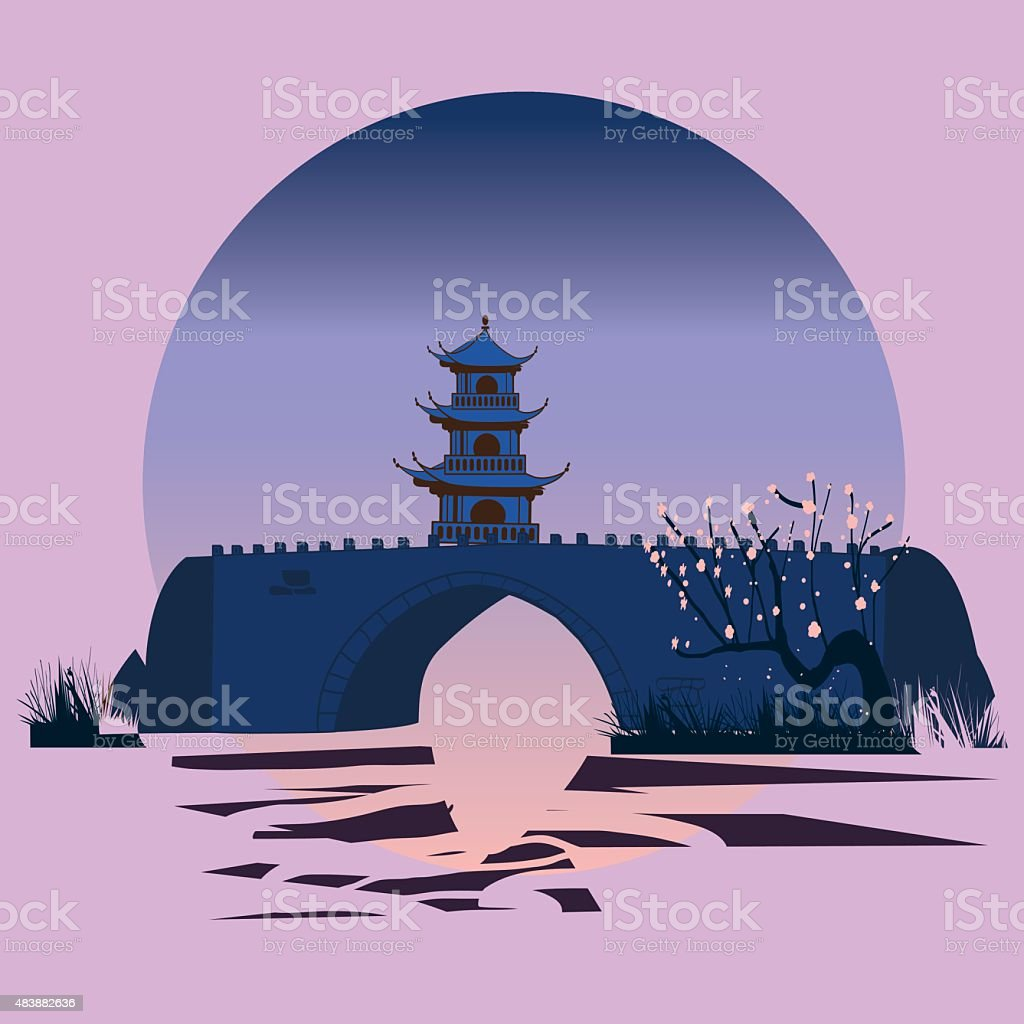 Chinese landscape with cherry blossom. vector art illustration