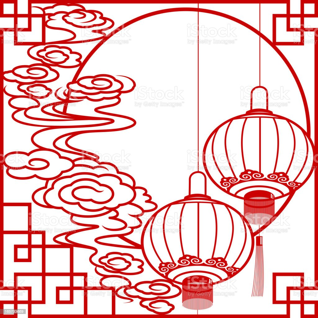 Chinese Lantern and Cloud Paper-cut Art Frame royalty-free stock vector art
