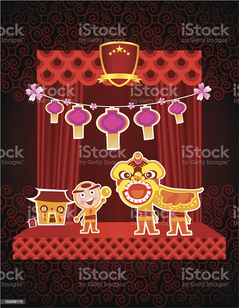 Vector of Lion dance with traditional oriental culture stage design...