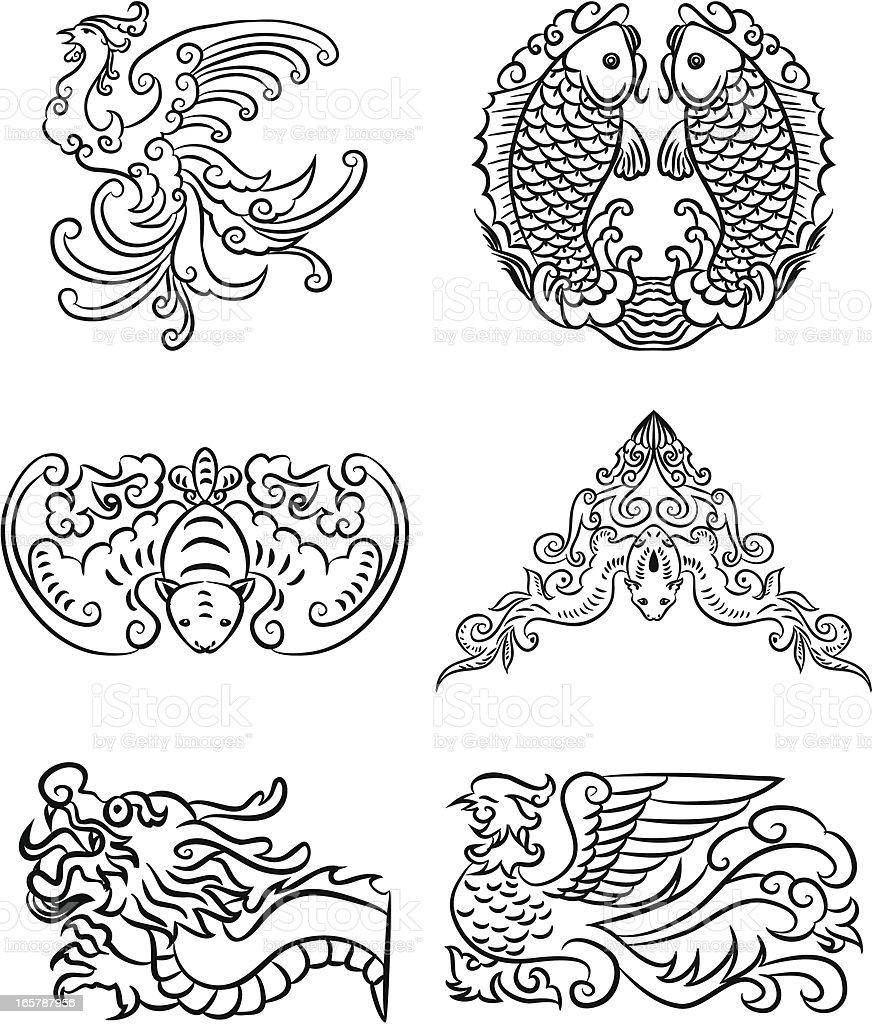 Chinese lucky patterns vector art illustration