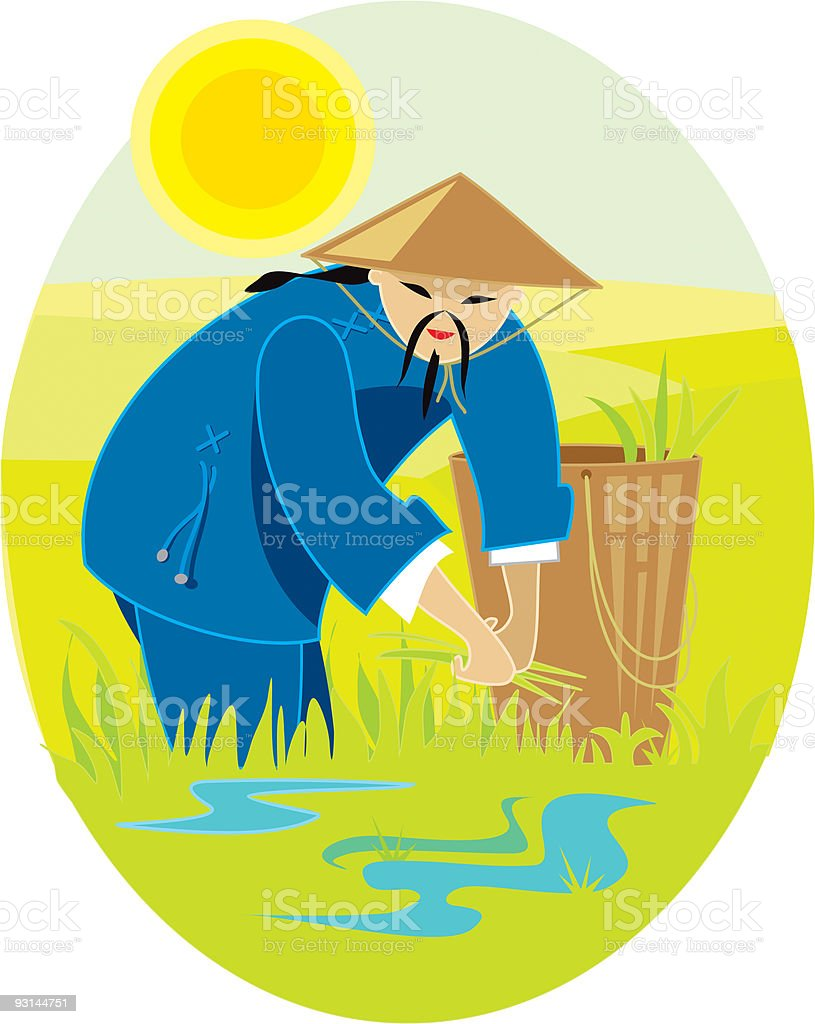 Chinese man in paddy fields, 'people of the world' series vector art illustration