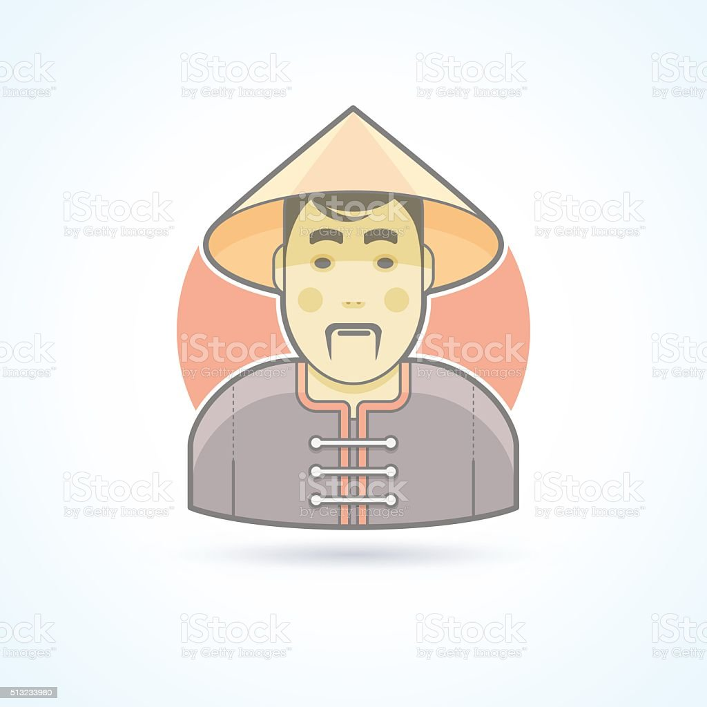 Chinese man in traditional cloth icon. Avatar and person illustration. vector art illustration