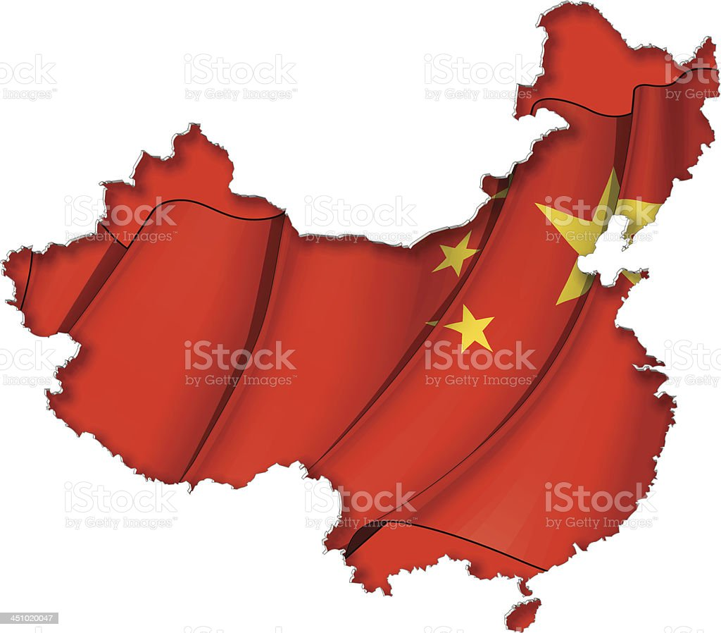 Chinese Map-Flag royalty-free stock vector art