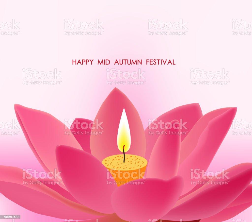 Chinese mid autumn festival background. Lotus lantern vector art illustration