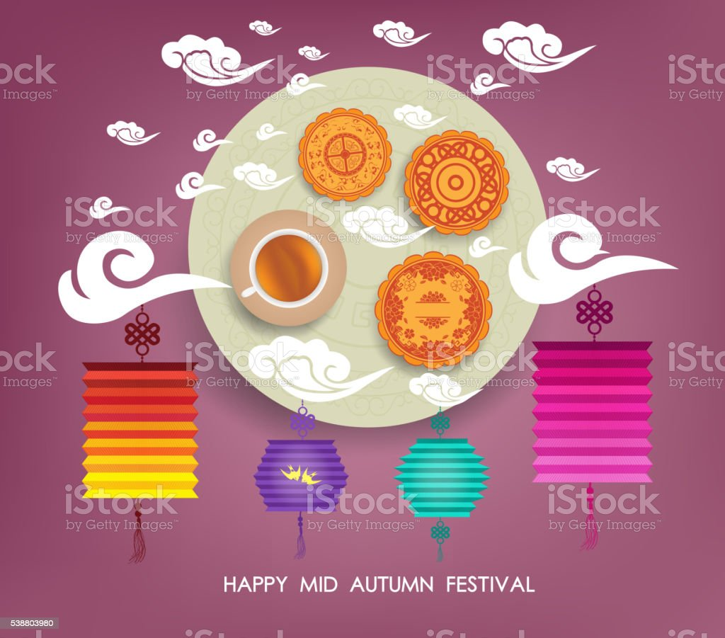 Chinese mid autumn festival background with lantern, tea and cake vector art illustration