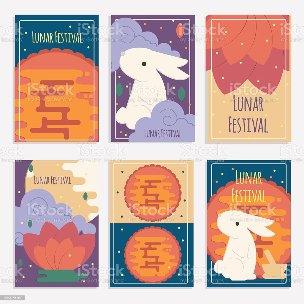 Chinese mid autumn festival banners vector art illustration