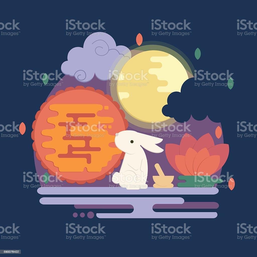 Chinese mid autumn festival illustration in flat style vector art illustration