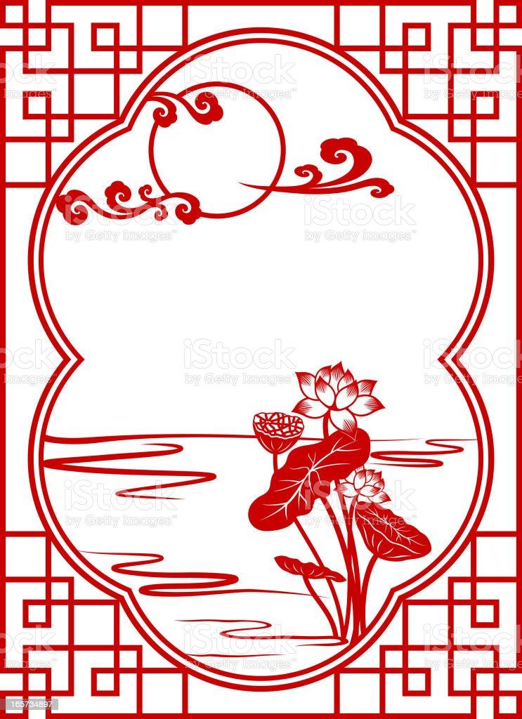 Chinese Mid-Autumn Festival Paper-cut Art Frame vector art illustration