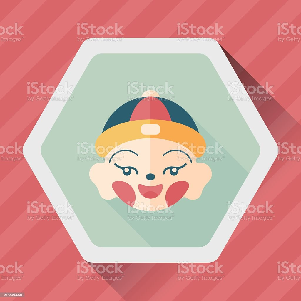Chinese New Year boy flat icon with long shadow,eps10 vector art illustration