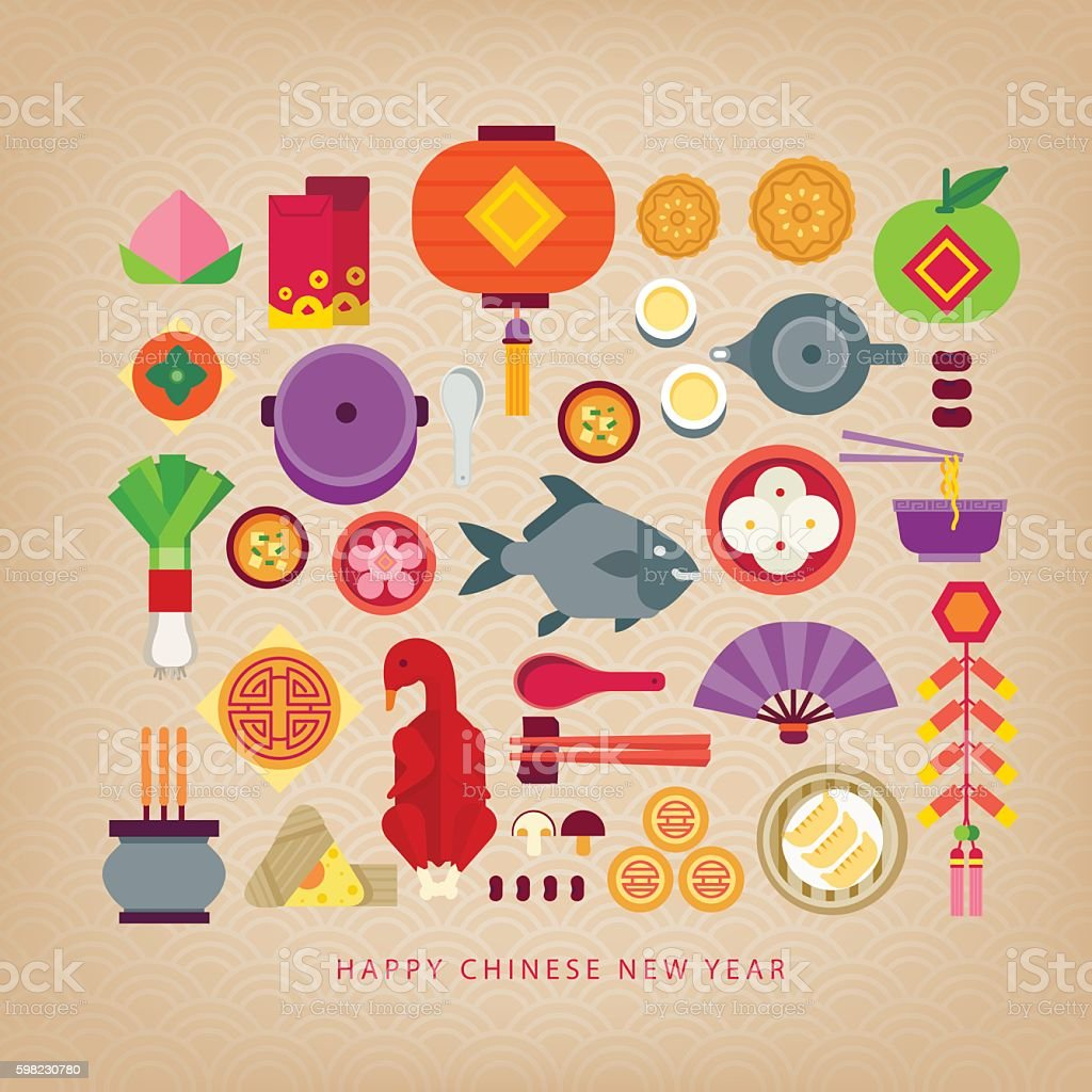 Chinese new year celebration/foods of Chinese new year vector art illustration