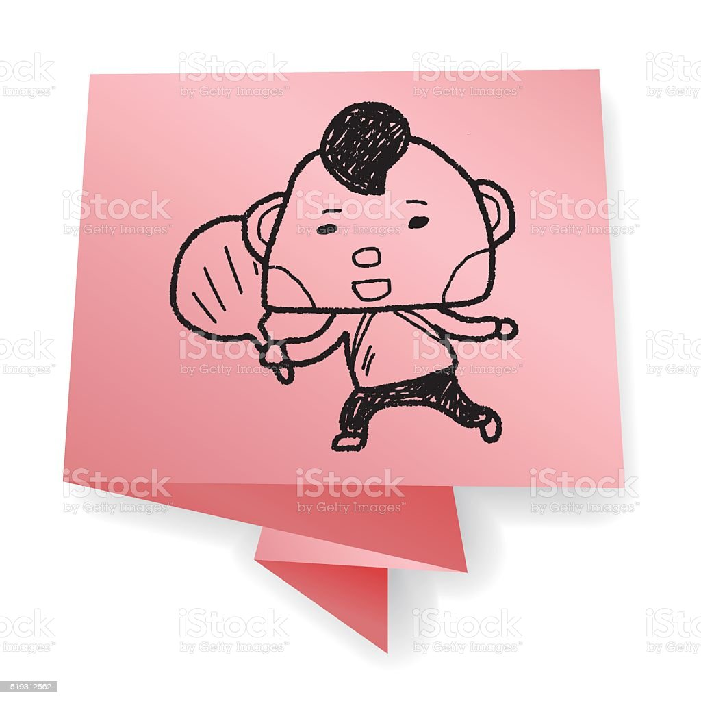 Chinese New Year; Chinese New Year boy doodle vector art illustration
