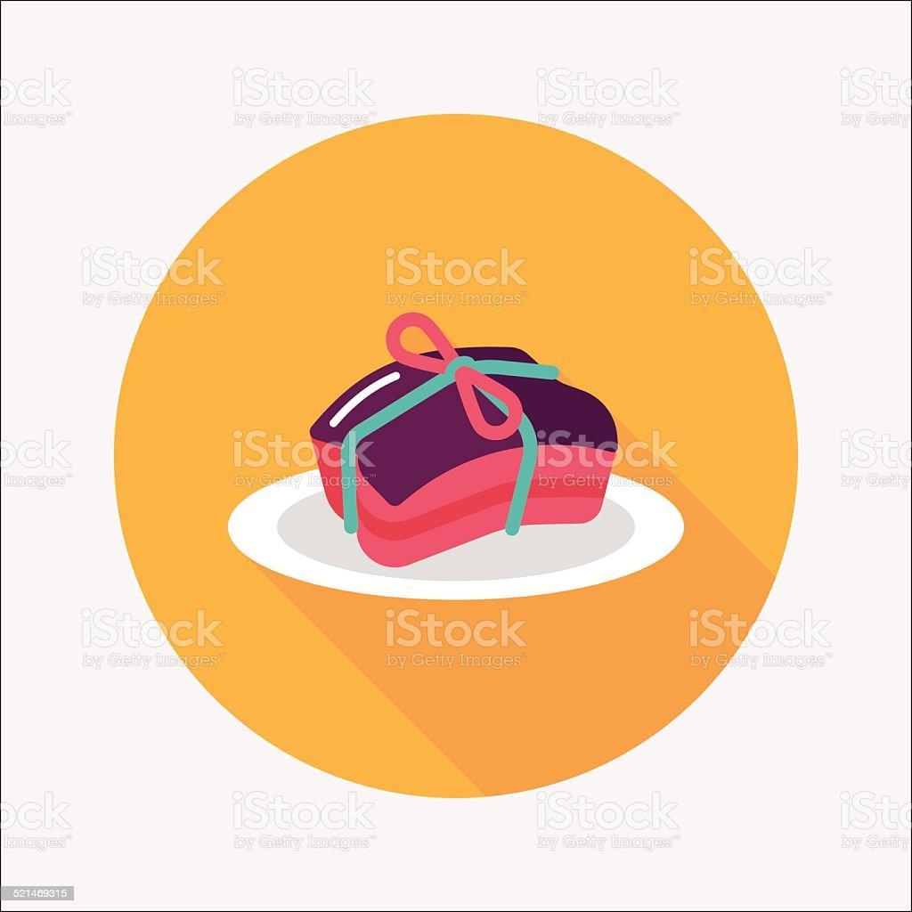 Chinese New Year cuisine braised dongpo pork flat icon,eps10 vector art illustration