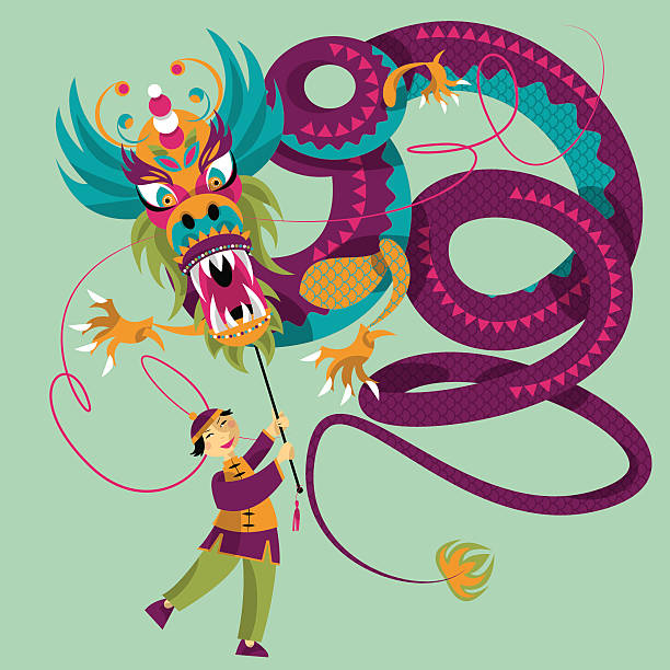 chinese new year dragon dance vector art illustration