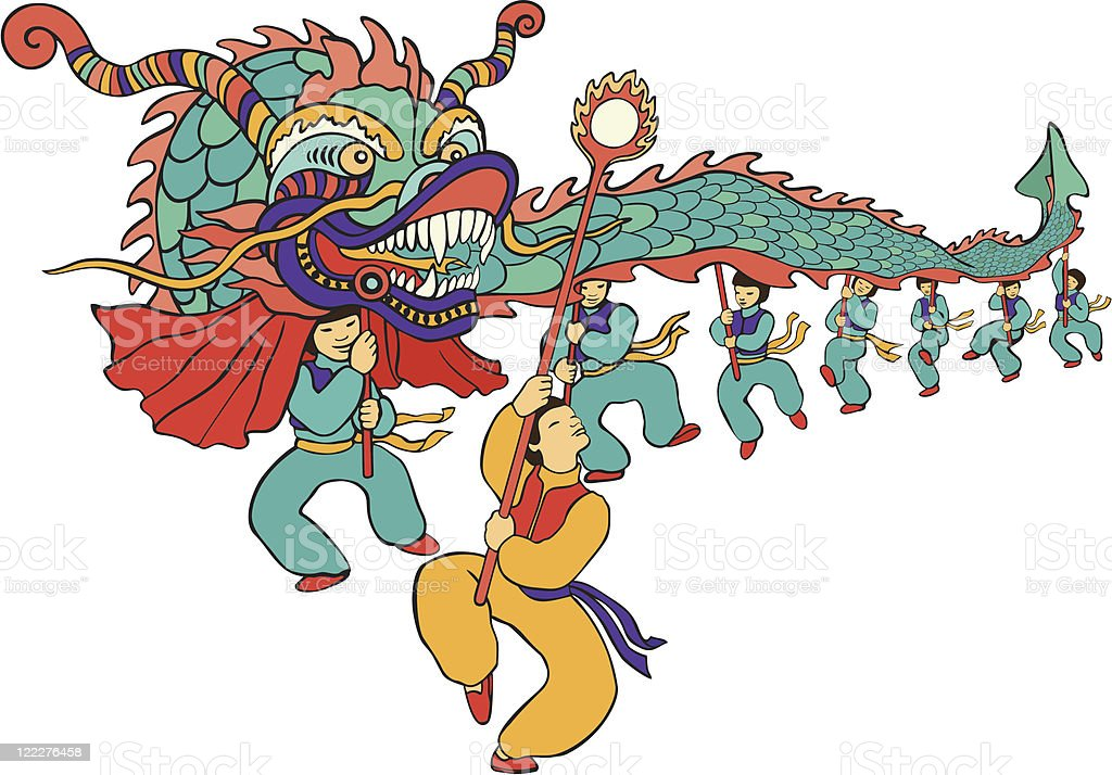 Chinese New Year Dragon Dancers royalty-free stock vector art