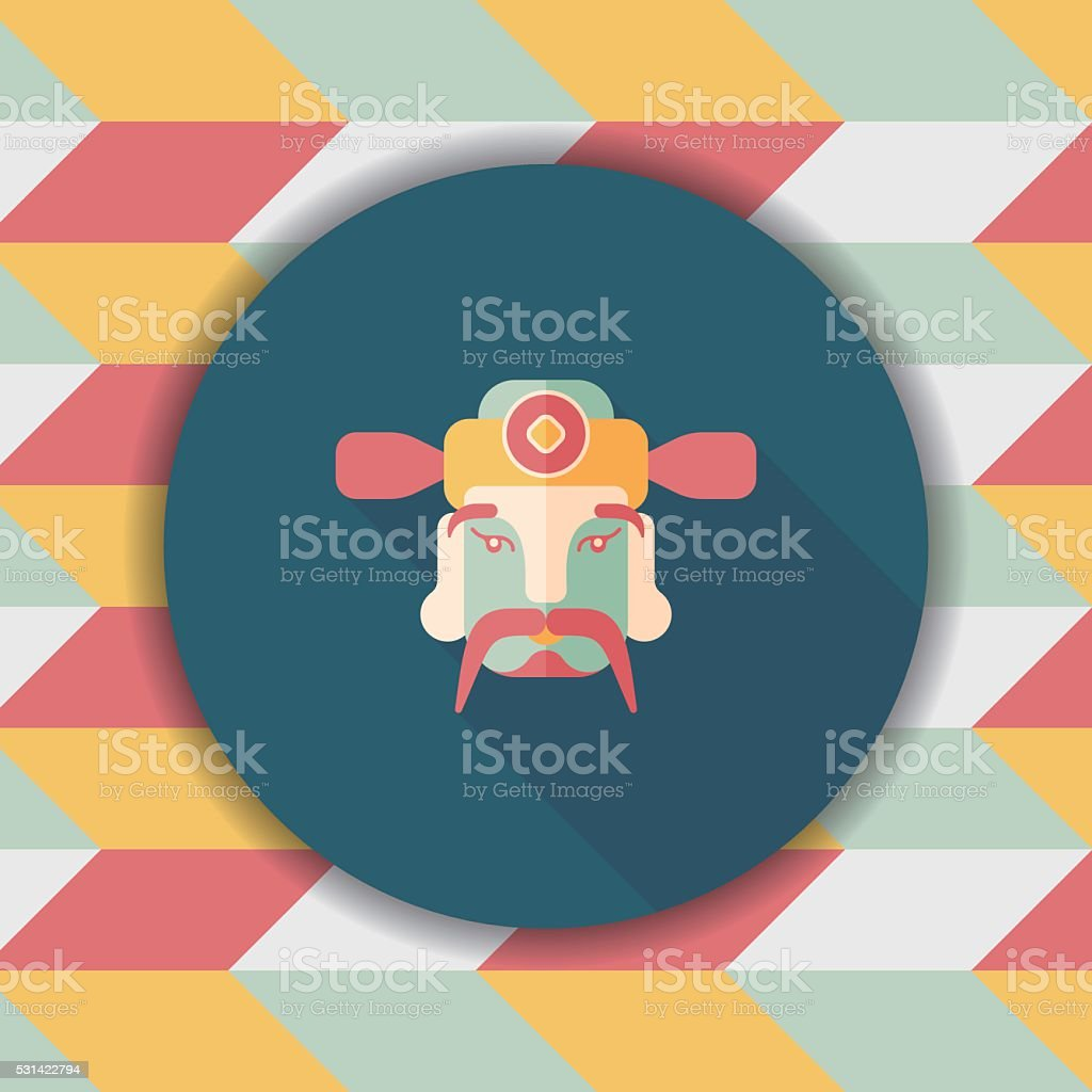 Chinese New Year flat icon icon with long shadow vector art illustration