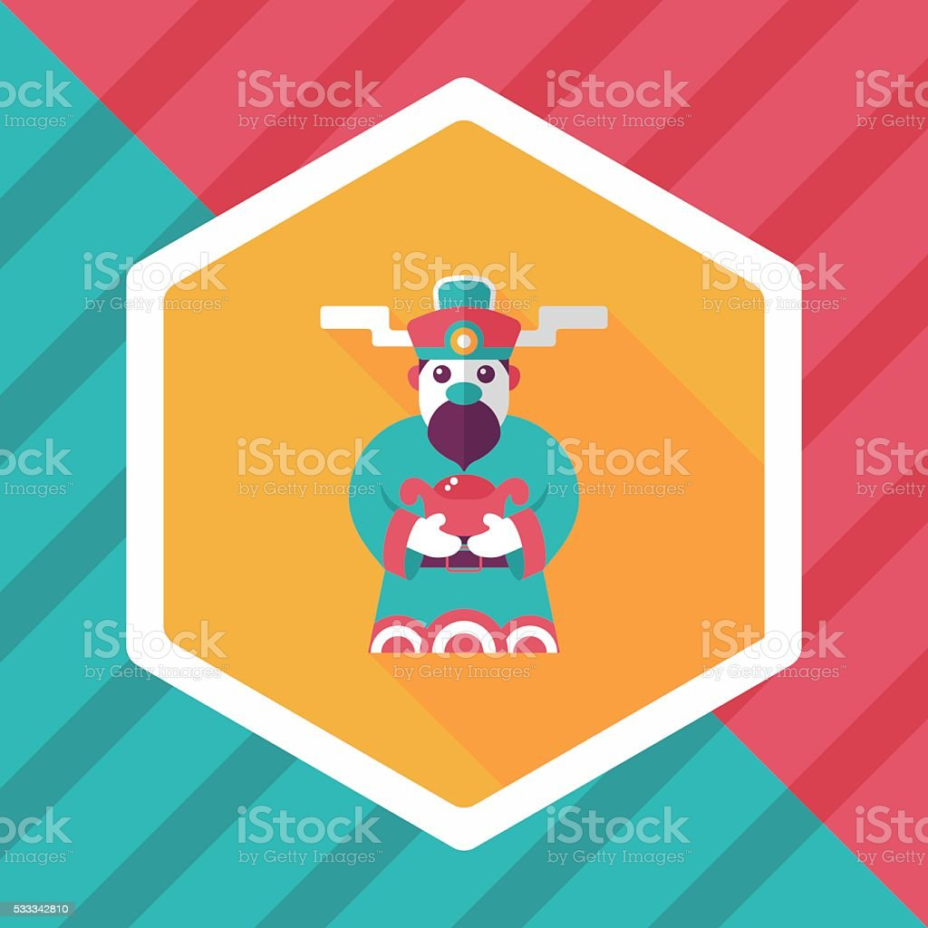 Chinese New Year flat icon with long shadow, eps10 vector art illustration