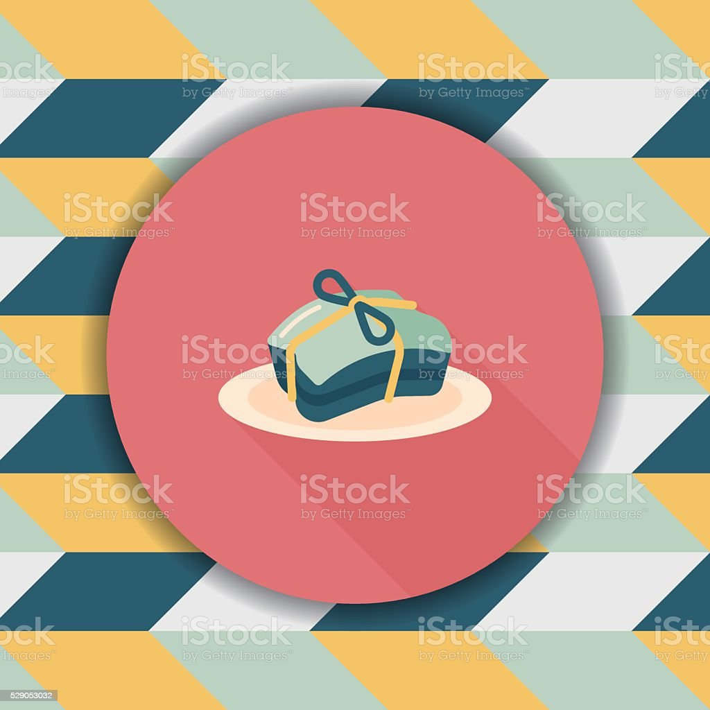Chinese New Year flat icon with long shadow vector art illustration