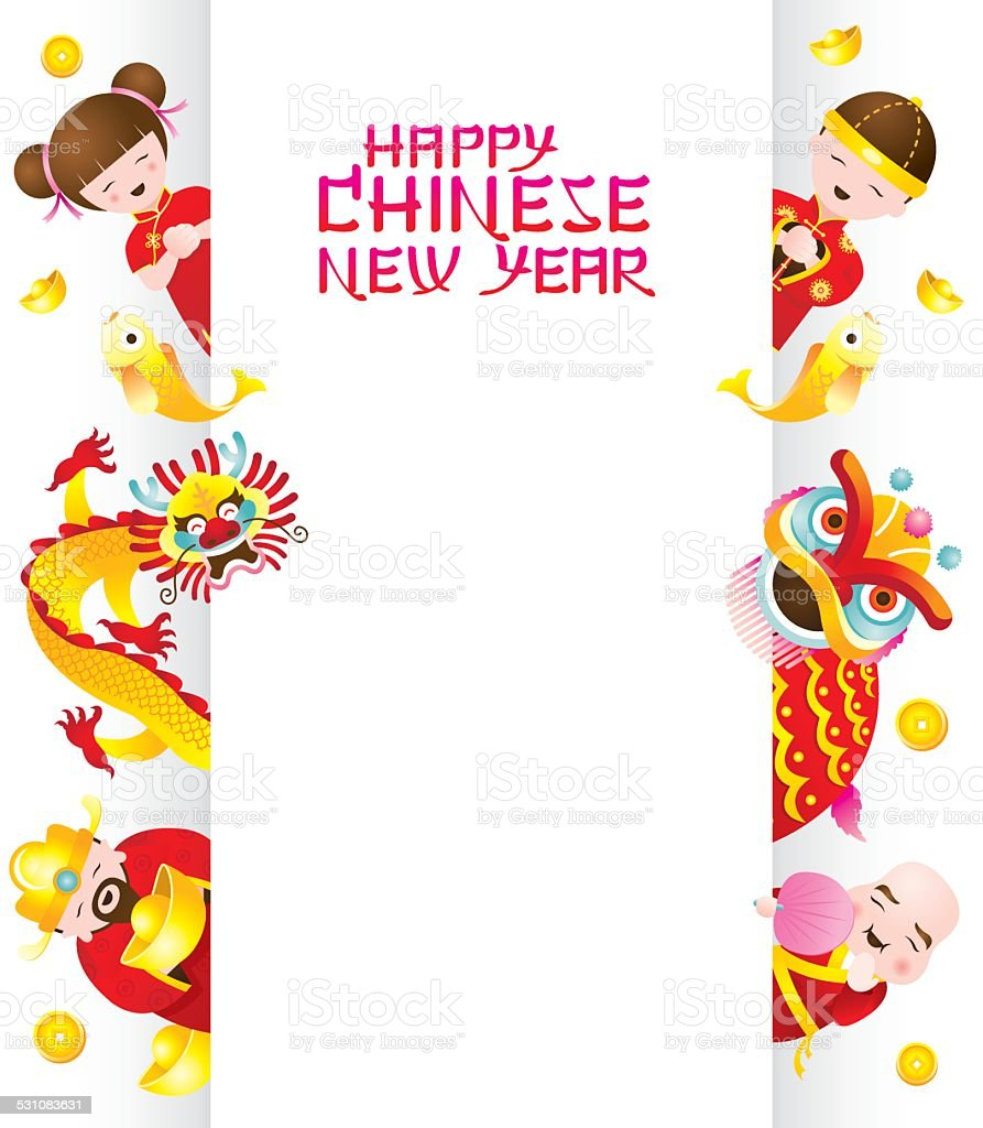Chinese New Year Frame with Chinese Character vector art illustration