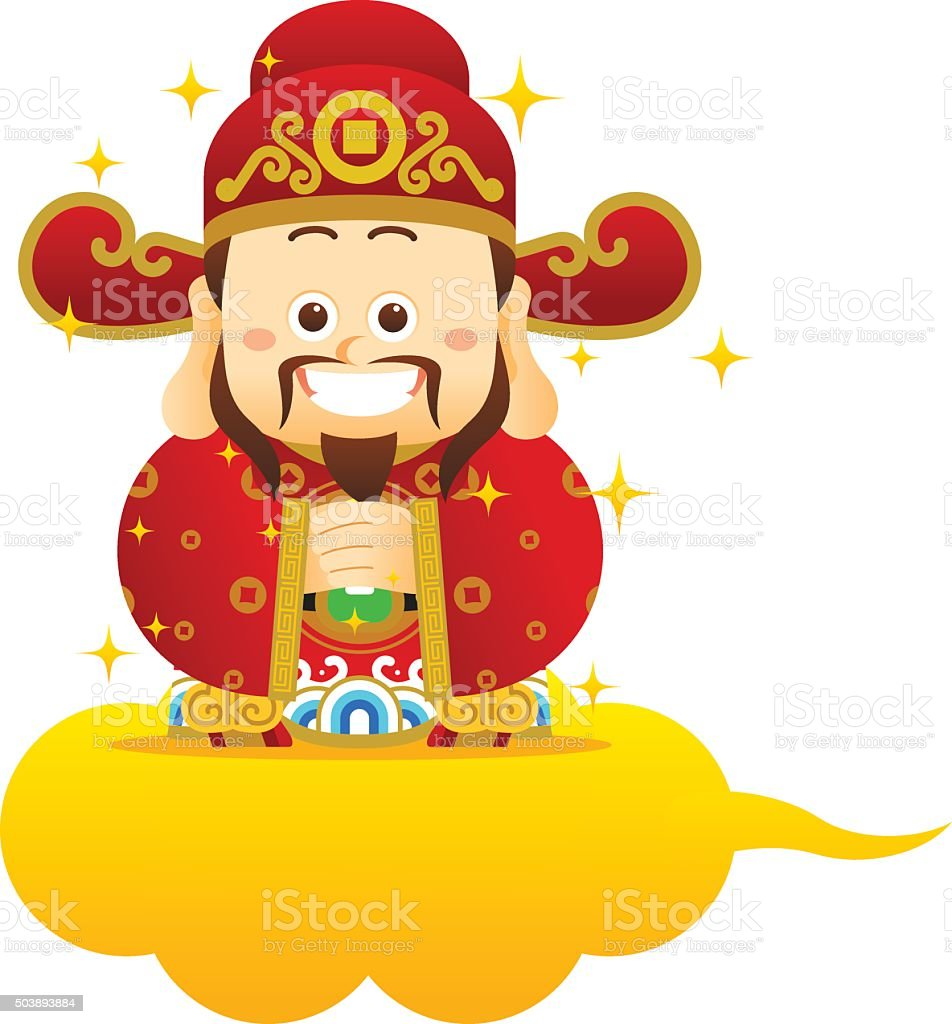 Chinese New Year Frame with Chinese God vector art illustration