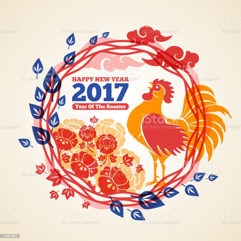Chinese New Year Frame with Crowing Rooster vector art illustration
