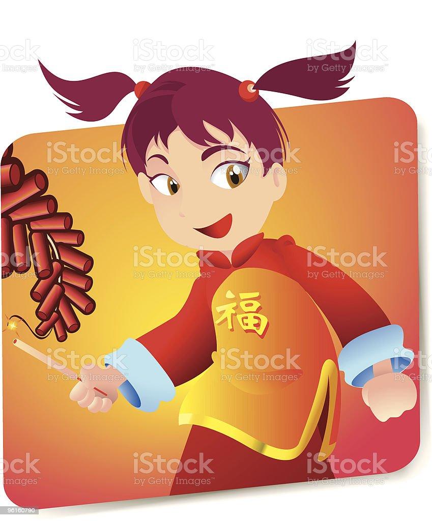 Chinese New year Girl vector art illustration