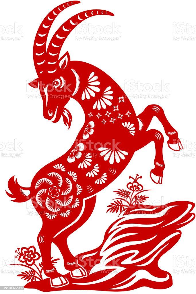 Chinese New Year Goat Paper-cut Art vector art illustration