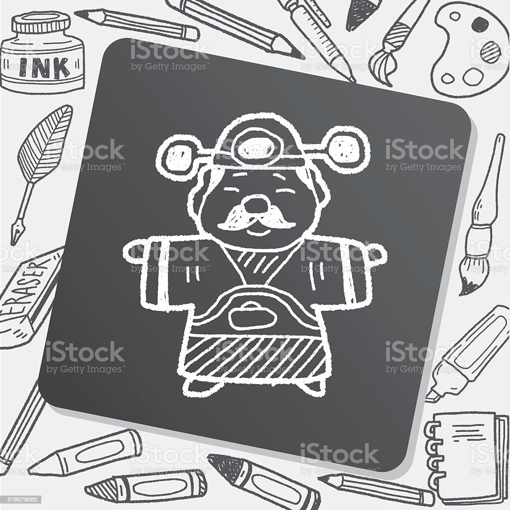 Chinese New Year; God of wealth doodle vector art illustration