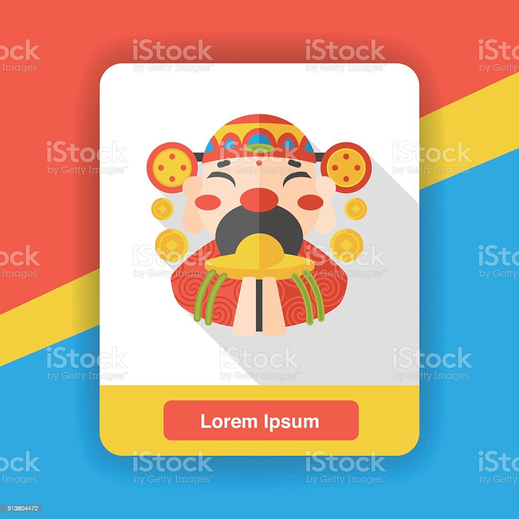 Chinese New Year God of wealth flat icon vector art illustration