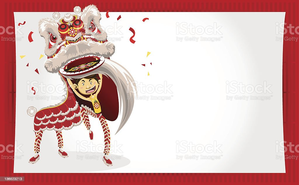 Chinese New Year Greeting Card Lion Dance vector art illustration