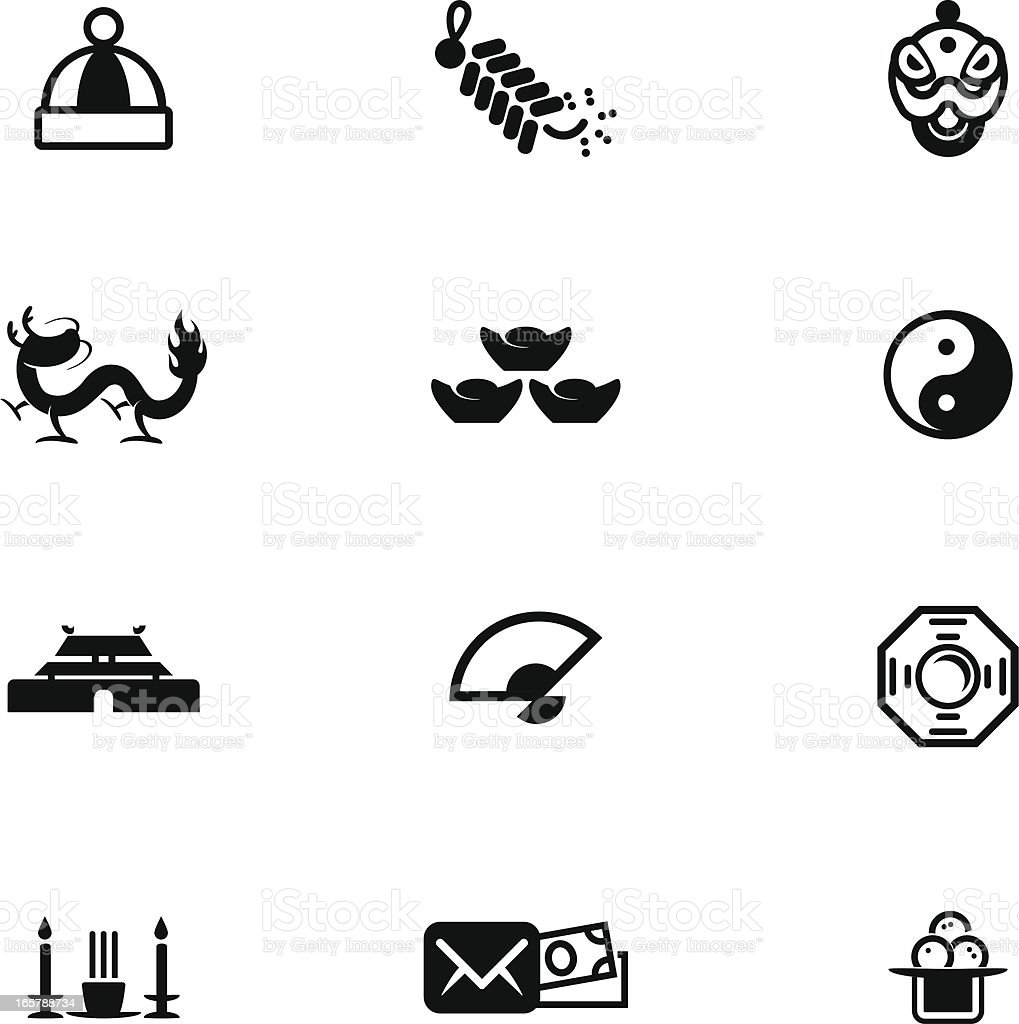 Chinese New Year Icon Set royalty-free stock vector art