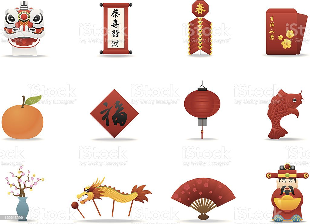 Chinese New Year icons | Premium Matte series vector art illustration