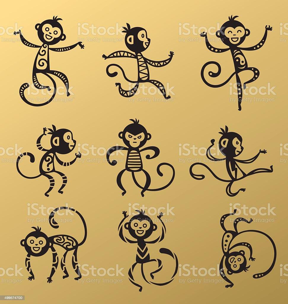 Chinese New Year monkey vector decoration ball icon vector art illustration