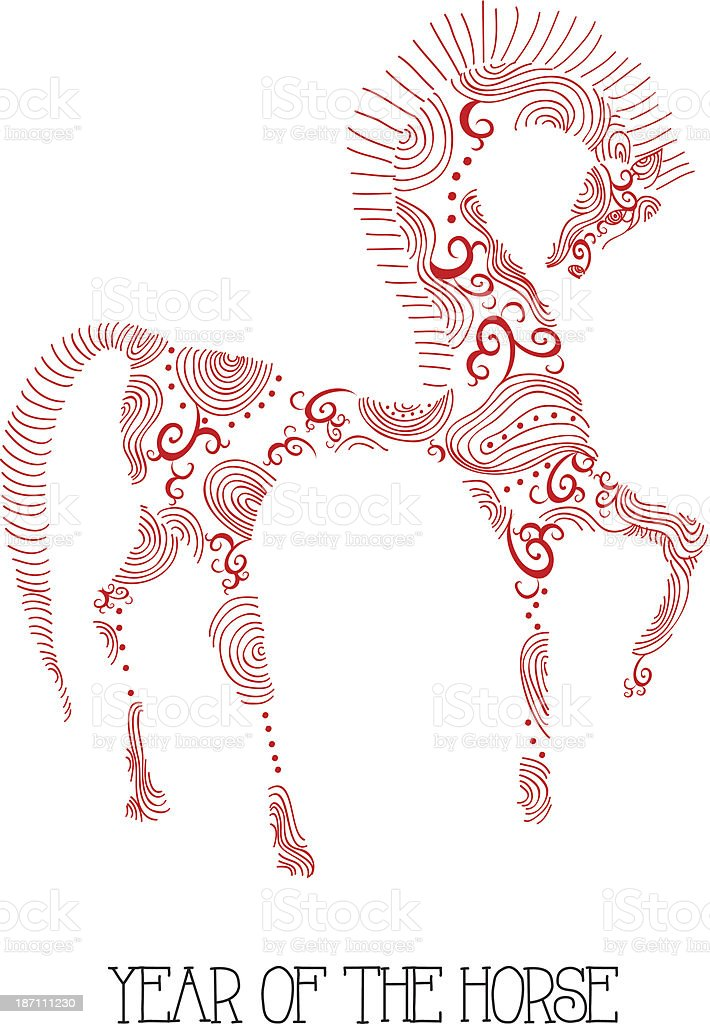 Chinese new year of the Horse abstract sketch illustration. royalty-free stock vector art