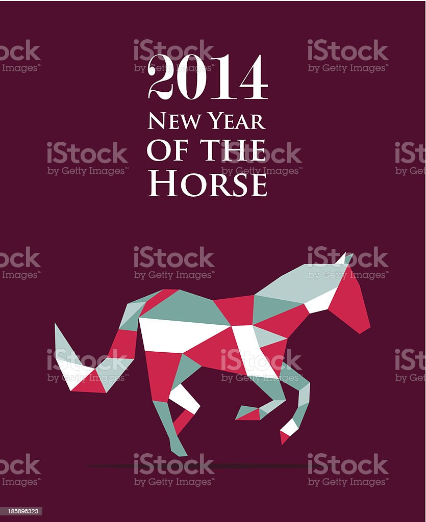 Chinese New Year of the Horse triangle composition. royalty-free stock vector art