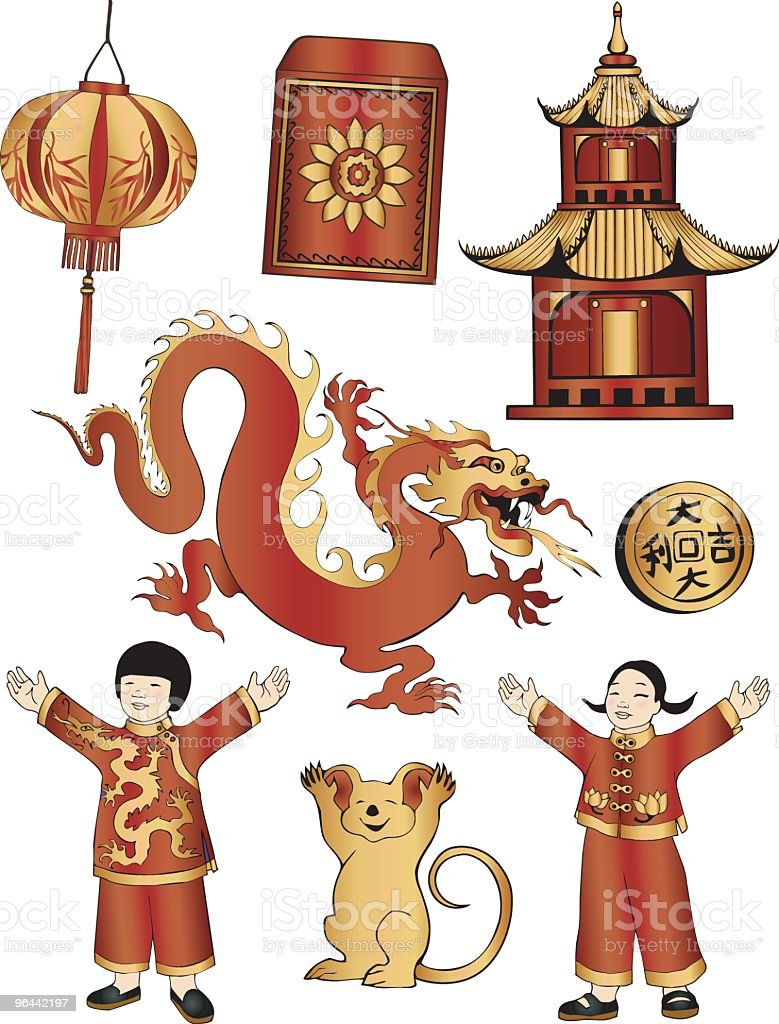 Chinese New Year Red and Gold royalty-free stock vector art