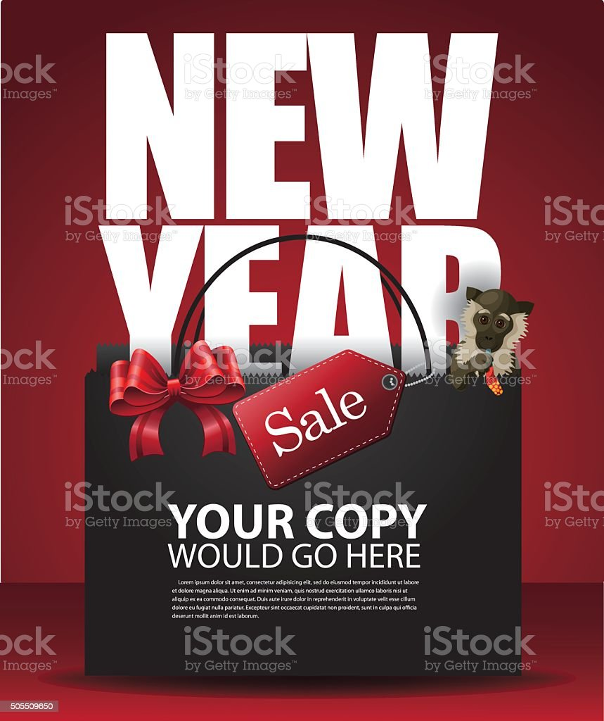 Chinese New Year Sale Shopping Bag and monkey background vector art illustration